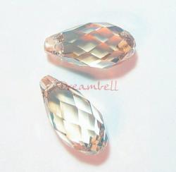 2x Swarovski Elements Crystal Teardrop Briolette 6010 Silver Shade 11mm