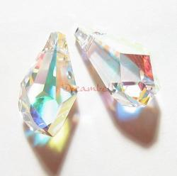2x SWAROVSKI CRYSTAL 6015 Clear AB 13mm Polygon Drop PENDANT