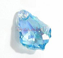 2x Swarovski Elements Crystal 6090 Baroque Aquamarine AB Pendant16mm