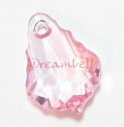 1x Swarovski Crystal 6090 Baroque Pink Rose Pendant 22mm