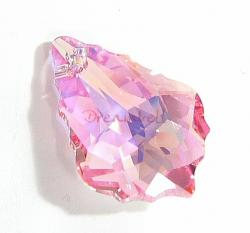 1x Swarovski Crystal 6090 Baroque Light Rose AB Pendant 22mm