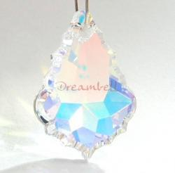 1x Swarovski Crystal 6091 Baroque Pendant Clear AB 28mm