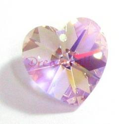 2 Swarovski Crystal Heart Charm pendant Light Amethyst AB 14mm 6202