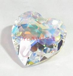 1x SWAROVSKI 6215 CLEAR AB HEART CRYSTAL PENDANT 18mm