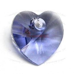 4x Swarovski Crystal 6228 Xilion Heart Charm Tanzanite 10mm