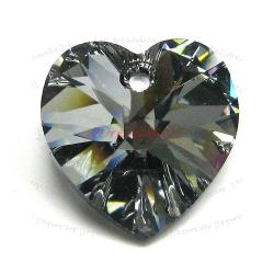 1x Swarovski Xilion Crystal 6228 Heart Charm Pendant Silver Night 18mm