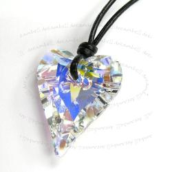 "Clear AB Wild Heart Charm Pendant 27mm Black Leather 1mm Necklace 16"" Adjustable Using Swarovski Elements Crystal"