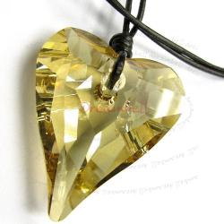 "Golden Shadow Wild Heart Love Pendant 27mm Black Leather 1mm Necklace 16"" Adjustable Using Swarovski Elements Crystal"