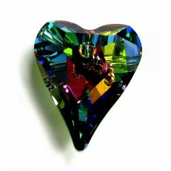 1x Swarovski Crystal 6240 Vitrail Medium Wild Heart Charm Pendant 17mm