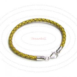 1x Sterling Silver Metallic Gold Bolo Braided leather 3mm BRACELET for European Bead charms 7.5""
