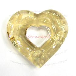 Swarovski 6262 Crystal Miss U Heart Charm pendant Golden Shadow 17mm
