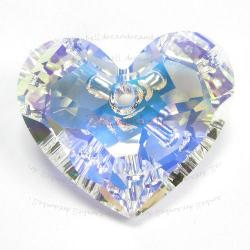 Swarovski 6264 Crystal Truly in Love Heart Charm pendant Clear AB 18mm