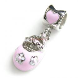 Sterling Silver Lovely Little Baby Girl Shoe Pink Rose Enamel Bead for European Charm Bracelets