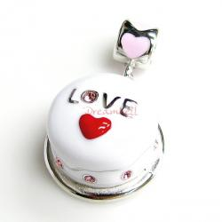 Rhodium on Sterling Silver Birthday Cake w/ Red Heart Pink Rose CZ Enamel Bead for European Charm Bracelets