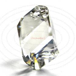 Swarovski Elements Crystal 6650 Cubist Pendant Bead Silver Shade 22mm