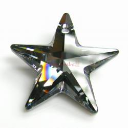 1x Swarovski Crystal 6714 Star Pendant Silver Night 28mm