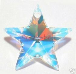 1x Swarovski Crystal Star Pendant Clear AB 6714 20mm