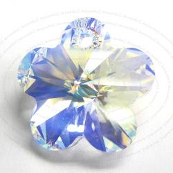 2x Swarovski Elements Crystal 6744 Flower Charm Bead 14mm Clear AB