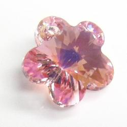 2x Swarovski Elements Crystal 6744 Light Rose AB Flower Charm Bead 14mm