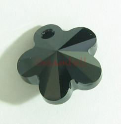 1x SWAROVSKI CRYSTAL 6744 Flower Charm Jet Black Bead 18mm