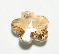 1x SWAROVSKI CRYSTAL 6744 Flower Pendant 18mm Golden shadow