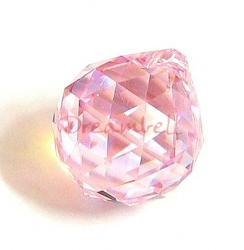 1x Swarovski Elements 8558 Rosaline AB Round Ball Prism Drop Pendant 20mm