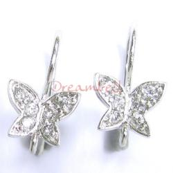 2x Rhodium Sterling Silver CZ Butterfly French Hook Earwires Earring Connector