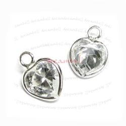 2x Sterling silver CZ Crystal Sweet Heart Pendant Dangle Charm 11.5mm