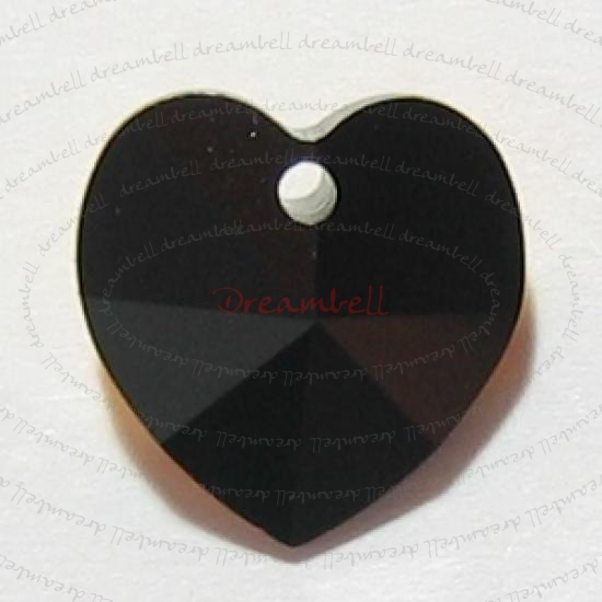 4 Swarovski Elements 6228 Jet Black 10mm Heart Crystal Pendant