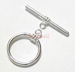 1x STERLING SILVER PLAIN Round TOGGLE CLASP  15mm