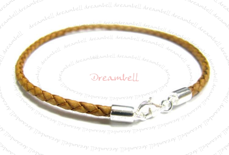 1x Sterling Silver 3mm Light Brown Braided Bolo Leather Anklet Bracelet  10.5""