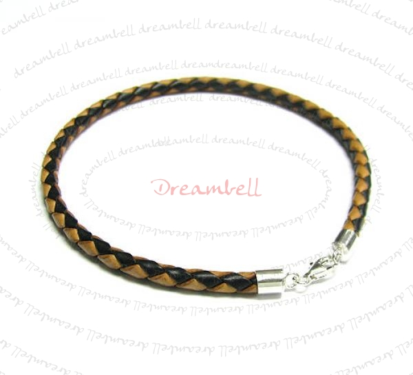 1x Sterling Silver  Brown Braided Bolo leather cord 4mm ANKLET  Bracelet 9.5""