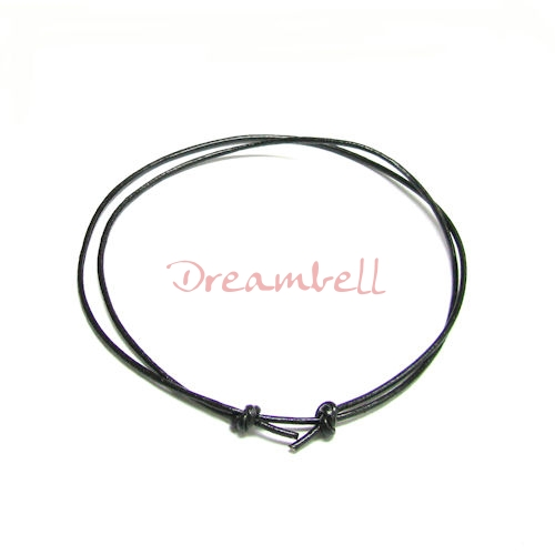 "1x Black leather cord 1mm adjustable Anklet Bracelet 9""-17\"""