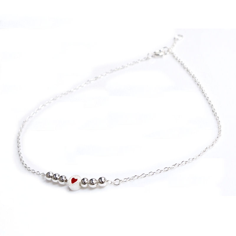 1x Sterling Silver Round Satin w/ Red Enamel Heart Link Rolo Cable Link Anklet w/ Extender Spring Clasp 9""