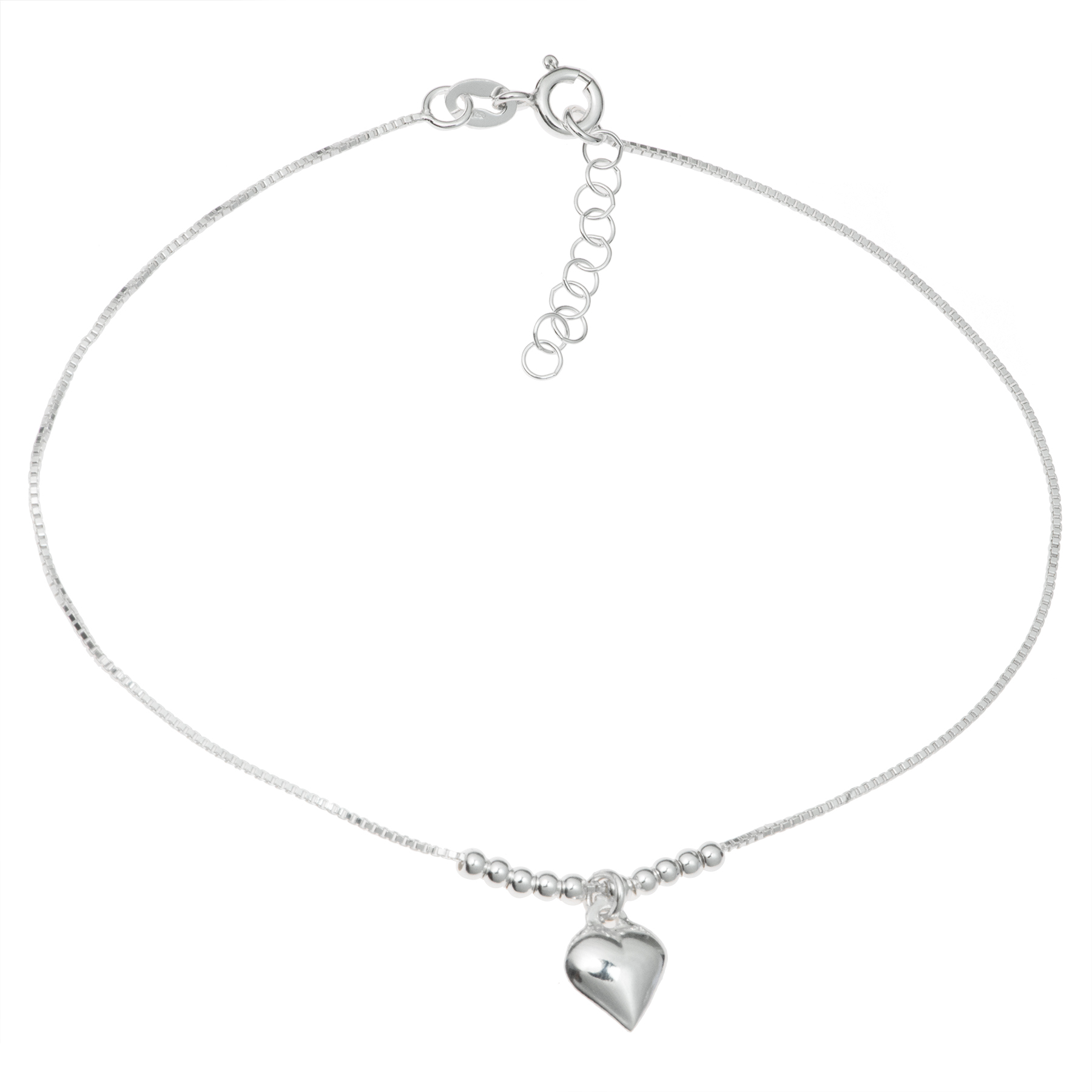 1x Sterling Silver Heart Dangle Charm Ball Bead Spacer Box Chain Anklet 9 Inches+ 1 Inch Extender
