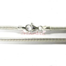 1x Sterling Silver 3mm SNAKE BRACELET for European Bead Charm 6""
