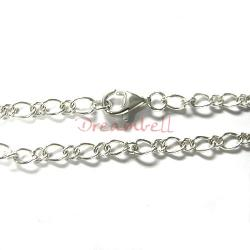 Sterling Silver Twisted Oval Ring Charm Bracelet w/ lobster clasp 7.5""