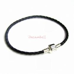 1x Sterling Silver 3mm Braided Bolo Leather Bracelet with Bead Clasp for European Bead Charm 7.5""