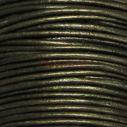 2 yards  Natural Leather BEAD STRINGING CORD 1mm Metallic Dark Olivine (Gauriya)