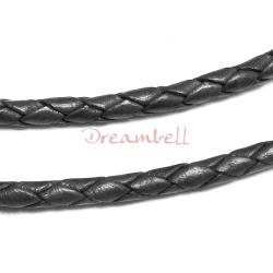 1 yard  Natural Braided Bolo  Leather BEAD STRINGING CORD 6mm Black