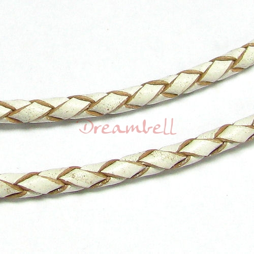 1 yard  Natural Braided  Leather BEAD STRINGING CORD 3mm Original White