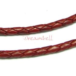 1 yard  Natural Braided  Leather BEAD STRINGING CORD 3mm Red