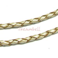 1 yard  Natural Braided  Leather BEAD STRINGING CORD 3mm Metallic Pearl