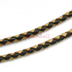 1 yard  Natural Braided Bolo  Leather BEAD STRINGING CORD 3mm Black and Dark Brown