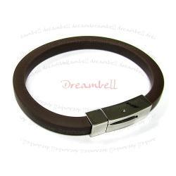 S. Steel Dark Brown Polyurethane (PU) Rubber Cord 8mm Magnetic Wristband Bracelets 8""