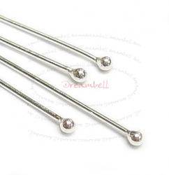 50x Sterling Silver Single Dot Headpins 24ga 1.5""