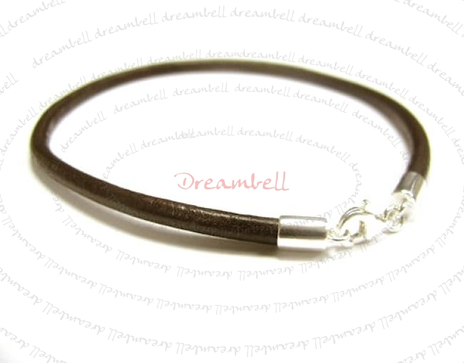 1x Sterling Silver Dark Brown Leather cord 3mm Anklet 10.5""