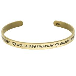 Qina C. Gold-tone 316l Stainless Steel Life Journey Destination Moments Adjustable Cuff Bracelet Wristband Bangle