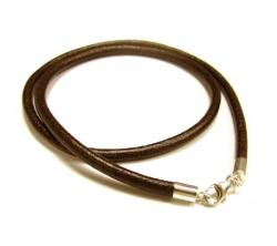 "1x Sterling Silver Brown leather cord 3mm choker necklace 16"" for European Bead Charms"