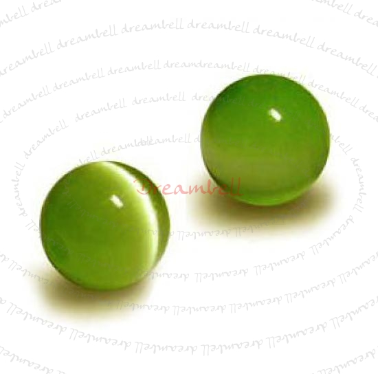 100pcs Grade A Fiber Optic AURORA  Cats Eye Beads 4mm Round Olivine